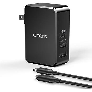 Omars USB C PD充電器45W 最新版「PSE認証済」3ポートPD対応 急速充電対応 折り畳み式 ACアダプター(usbcケーブル付属 )Macbook/MacBook Pro/ Nintendo Switch/iPhone 11/11 Pro/11 Pro Max/XS、XS Max/XR/X/8Plus/8,iPad Pro/Samsung Galaxy S9/S9Plus/S8/S8 Plus/ iPad/iPad pro/iPad mini/S7/S6, Nexus 6P/5X, LG G5,Google Pixel 2 XL, Moto Z , HTC,Sony など対応 (45W 3ポート)ブラック