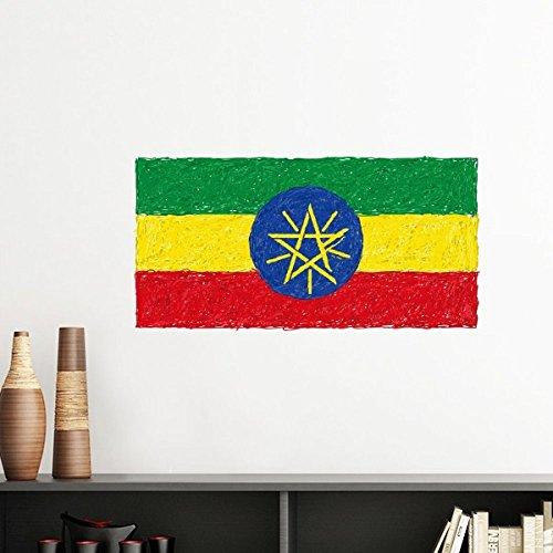 DIYthinker Rot, Gelb, Grün Stripes Äthiopien-Flagge Nationale Kultur Element entfernbarer Wand-Aufkleber-Kunst-Abziehbilder Wand-DIY Tapete Für Zimmer 80Cm