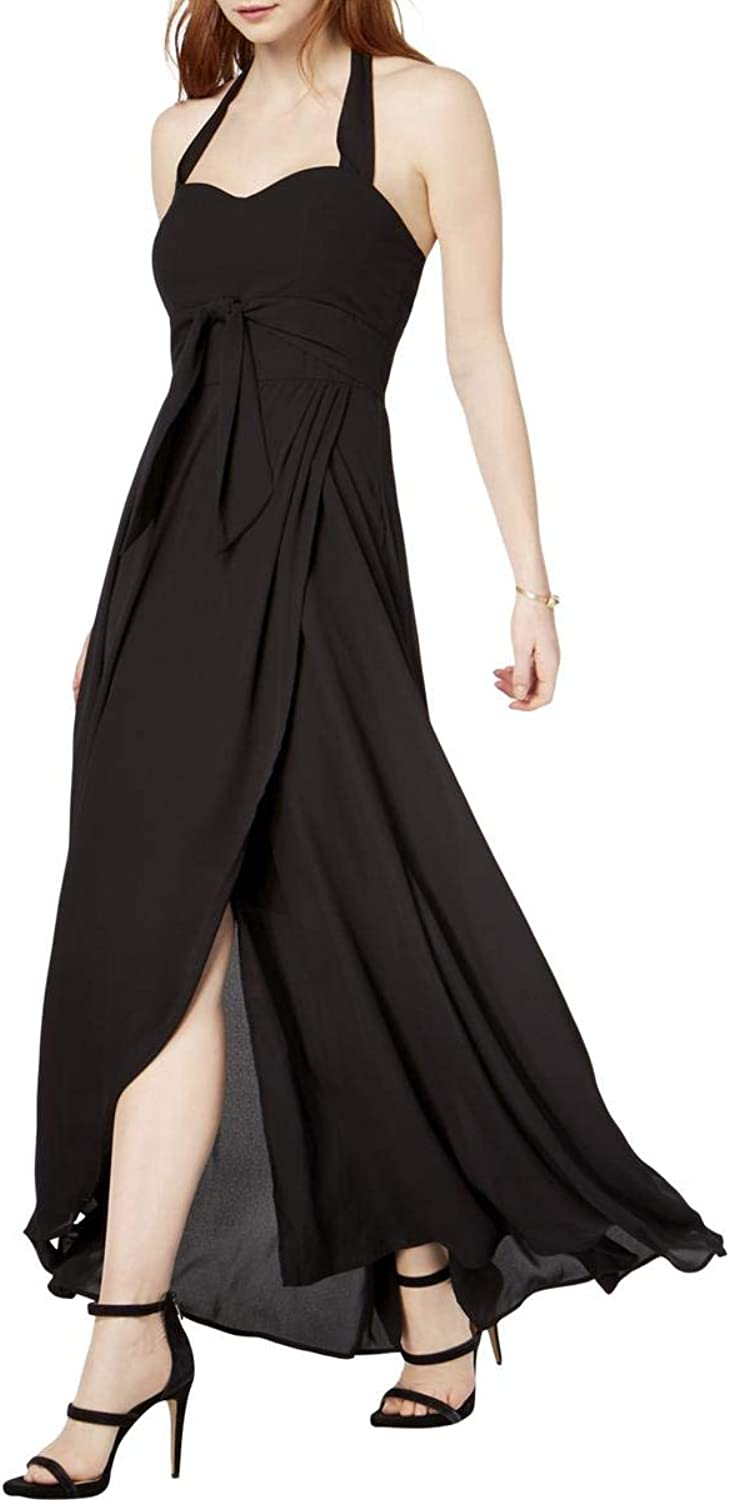 Bar III Womens Faux Wrap Halter Maxi Dress