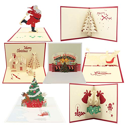 Happy Will Christmas Cards Bulk Xmas Pop Up Cards,3D Christmas Greeting Card Handmade Thank You Cards with 7 Envelopes for Holiday PostCards Christmas Valentine Day Gifts(7Pcs,C)