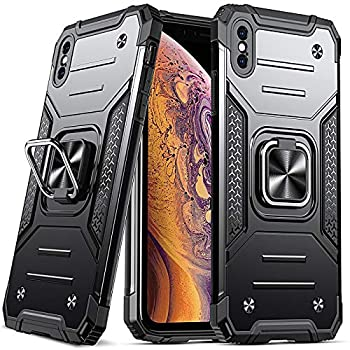 Anqrp Design for iPhone X/XS Case Military Grade Protective Phone Case Cover with Enhanced Metal Ring Kickstand [Support Magnet Mount] Compatible with iPhone X/XS Black