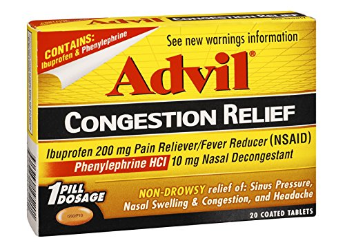 Advil Sinus Congestion & Pain Relief (20 Count Packets), Non-Drowsy, 200mg Ibuprofen Pain Reliever/Fever & Nasal Decongestant, One Tablet Dose (Pack of 6)