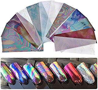 12 sheets Chrome mirror chameleon laser glitter NAIL FOILS psychedelic retro rainbow tie dye trippy holographic GOLD MARBLE nail sticker 3d nail art tattoo decal manicure decoration acrylic nail vinyl