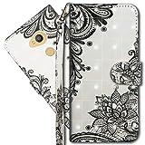 MRSTER Sony Xperia L2 Handytasche, Leder Schutzhülle Brieftasche Hülle Flip Hülle 3D Muster Cover mit Kartenfach Magnet Tasche Handyhüllen für Sony Xperia L2. YX 3D - Lace Flower