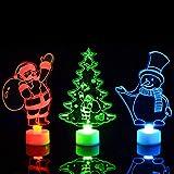 Mobestech luce notturna per albero di natale luce notturna luminosa per natale 3d luce notturna per babbo natale per festa in casa (4 pezzi colore casuale)