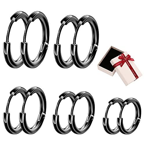 Xihuimay Juego de 5 pares de pendientes de acero de titanio con alambre redondo y ganchos de aro de 16 mm, para cartílago, tragus, palanca, para hombres y mujeres, color negro