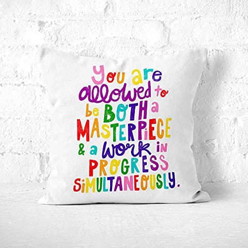Masterpiece And Work In Progress - Cojín de afirmación positiva en arco iris, almohada feminista de cuidado personal, almohadas modernas Lgbt Pride para sofá, sofá cama de 60 x 60 cm