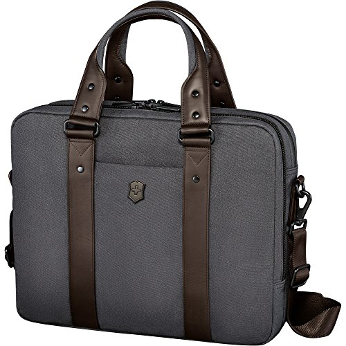 Victorinox Architecture Urban Bodmer 14 Laptop Briefcase, Grey/Brown, One Size