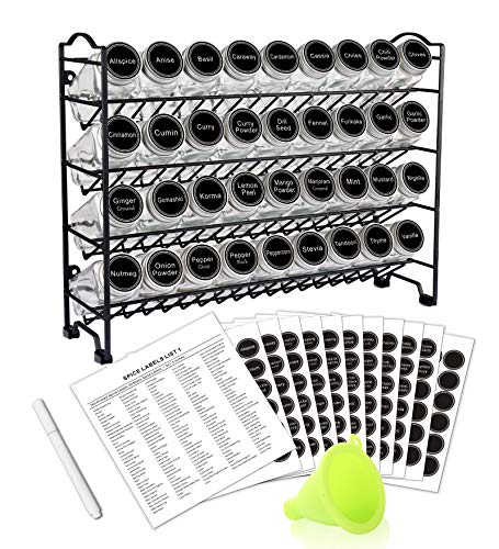 SWOMMOLY Spice Rack with 36 Empty Square Spice Jars, 396...