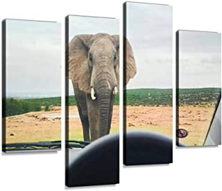 African elephant in front of car Canvas Print Artwork Wall Art Pictures Framed Digital Print Abstract Painting Room Home O...