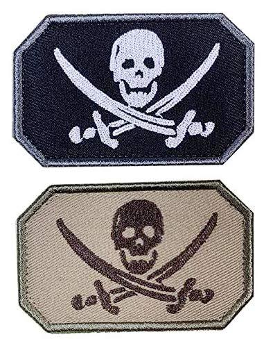 Antrix 2 Stück Piraten Jolly Roger Kreuz Schwerter Schädel Skelett Knochen Zombie Geist bestickt Militär Abzeichen Emblem Patches Haken und Schleife Abzeichen für Hüte, Rucksäcke, Taschen, Jacken