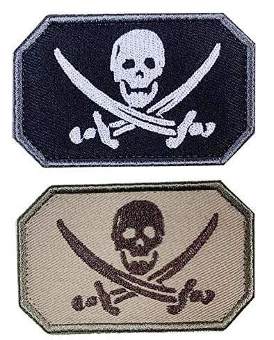 Antrix 2 Pcs Pirate Jolly Roger Cross Swords Skull Skeleton Bone Zombie Ghost Embroidered Military Badge Emblem Patches Hook & Loop Badge for Hats Backpacks Bags Jackets