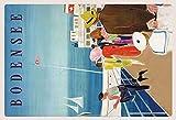 Bodensee Schiff mit Flagge Deutschland Blechschild Metallschild Schild gewölbt Metal Tin Sign 20 x 30 cm