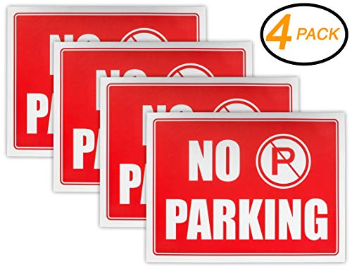 "Ram-Pro NO Parking Sign - 9"" High x 12"" Wide Red on White Reflective Plastic Signs for Driveway, Personal Parking Space (Pack of 4)"