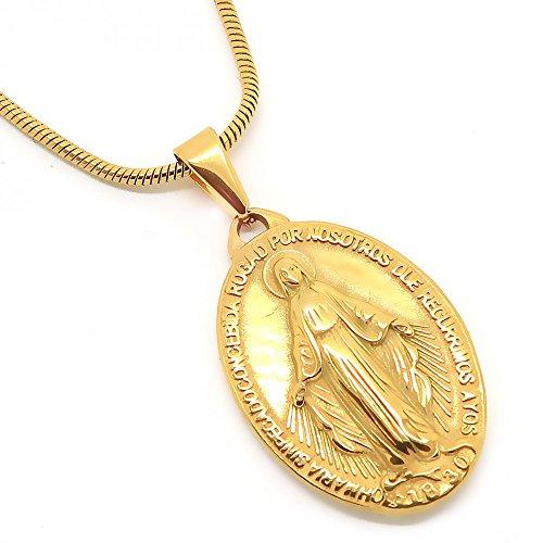 BOBIJOO JEWELRY - Medalla Colgante De La Virgen María Milagrosa De Acero Dorado Acabado De Oro De La Comunión + Cadena