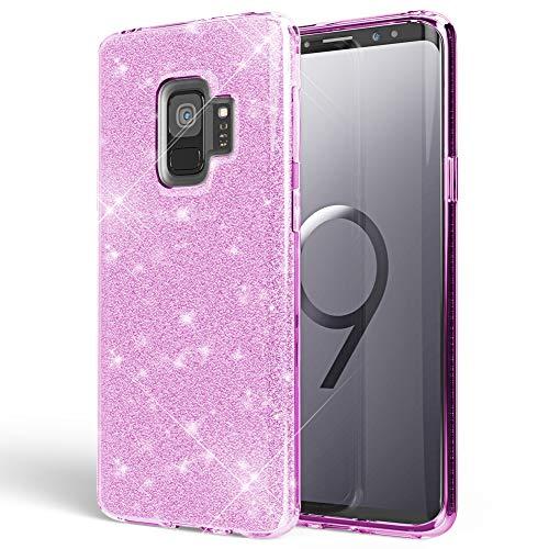 NALIA Handyhülle kompatibel mit Samsung Galaxy S9, Glitzer Ultra-Slim Silikon-Case Back-Cover Schutzhülle, Glitter Sparkle Handy-Tasche Bumper, Dünnes Bling Strass Phone Etui, Farbe:Lila