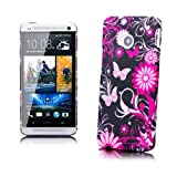 HTC One M7 | iCues Rhinestone Flower Case Black Flower