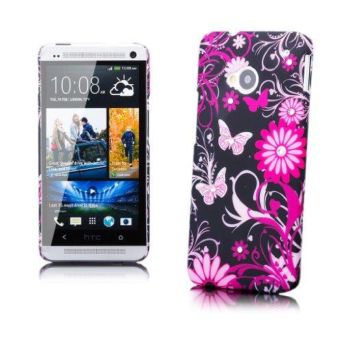 HTC One M7 | iCues Strass Blumen Case Schwarze Blume | [Display Schutzfolie Inklusive] Motiv Muster Strass Glitzer Glitter Luxus Bling Damen Frauen Mädchen Schutzhülle Hülle Cover Schutz