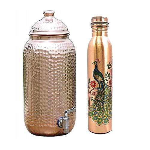 Ecohindu - Dispensador de cobre martillado hecho a mano de 5 litros (Matka/olla) con 1 botella de agua de cobre impresa (750 ml), producto Ayurveda, refuerzo de inmunidad natural fabricado en India