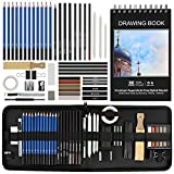 Art Supplies, BYWOKY 50 PCS Sketching & Drawing Pencils Art Kit, Each Artists Drawing Supplies Set for Adults/Kids Including Graphite/Charcoal Pencils & Sticks, Pastels, Erasers and Bonus Sketch Pad