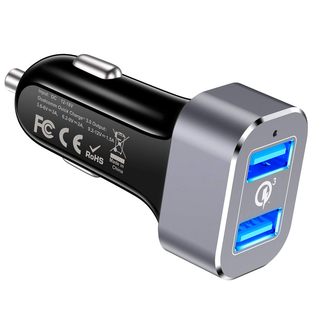 Car Charger, Capshi Quick Charge 3.0 36W Dual USB Car Charger Adapter Fast Car Charging Compatible Galaxy Note 10 S10 S8 S9 Note 8, iPhone X 8 7 6s