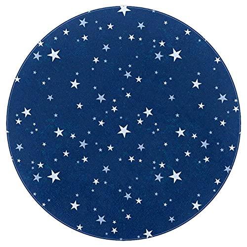 chenghuax Natale Stelle Navy Blu Shaggy Area Tappeto Tappeto Tappeto per Soggiorno camere da Letto per Bambini Scuola Materna casa da Pranzo tappeti tappeti Tappeto 4 Piedi Rotondi
