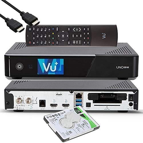 VU+ UNO 4K SE - UHD HDR 1x DVB-S2 FBC Sat Twin Tuner E2 Linux Receiver, YouTube, Satellit Festplattenreceiver, CI + Kartenleser, Media Player, USB 3.0, + EasyMouse HDMI-Kabel & 1TB HDD Festplatte
