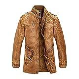 Loeay Chaqueta Casual para Hombre Classic Vintage Casual Motocicleta/Moto Bombardero Abrigos de Piel sintética Moda Prendas Cazadora Amarillo 3XL