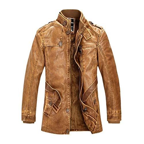 Loeay Chaqueta Casual para Hombre Classic Vintage Casual Motocicleta/Moto Bombardero Abrigos de Cuero Moda Ropa Cazadora Amarillo L