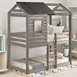 Twin Over Twin Bunk Beds with Roof, Window, Guardrail, Ladder (Antique Gray)