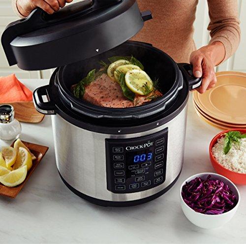 Crock-Pot CSC051X, Olla Multicooker Express para todo tipo de recetas: cocción lenta, cocción rápida a presión con varios ajustes, sellar/saltear, vapor y yogur, 5.6 litros, Negro