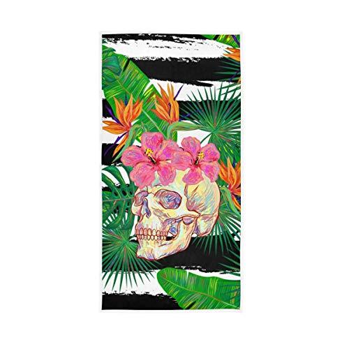 Dekorative hochsaugfähige Blume Tropisches Muster Blume Schädel Blatt Weich Groß für Badezimmer Home Hotel Fitnessraum Whirlpool Handtücher Hand Gast Mehrzweck 30x15 Zoll