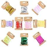 Keleily Cinta de Lentejuelas 10 Colores 5mm Lentejuelas para Vestidos, Costura, Fabricación de Joyas, Artesanía, Decoración de Vestidos, 5 Yardas, 10 Rollos