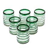 NOVICA Hand Blown Green Swirl Recycled Glass Tumbler Glasses, 12 oz 'Emerald Spiral' (set of 6)