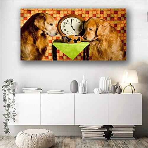 DIY 5D pintura de diamante bordado kits completo Golden retriever y reloj enorme Diamond painting grande punto de cruz cristal art craft for home wall decor gift Square Drill,70x140cm(28x56inch)