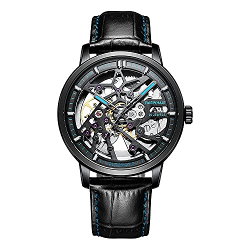MUCXI Mira al por Mayor de Hombres Relojes mecánicos automáticos Huecos de Comercio Exterior Reloj Impermeable (Color : F)