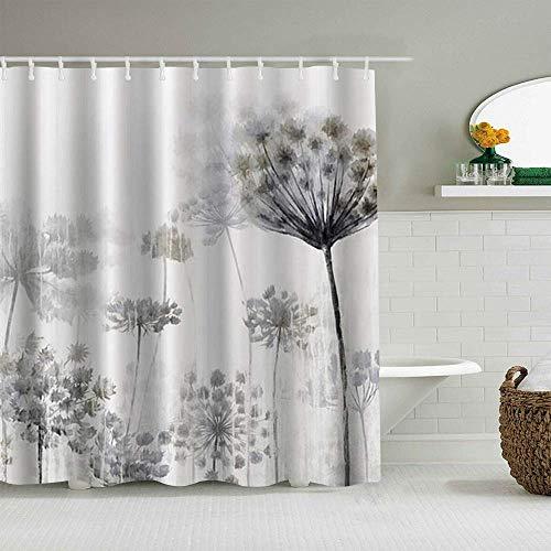 Duschvorhang, Schwarz & Weiß, Pusteblumen-Druck, wasserdichte Badeeinlagen, Haken im Lieferumfang enthalten – Badezimmer-Dekoideen, Polyester-Stoffzubehör