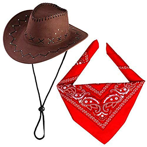 Beefunny Cowboy Hat with Cowboys Accessories-Western Sheriff Bandana Headband Gift Sets para Adultos y niños (café)
