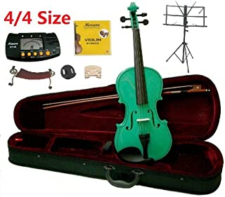 Merano 4/4 Full Size Green Student Violin with Case and Bow+Extra Set of Strings, Extra Bridge, Shoulder Rest, Rosin, Metro Tuner, Black Music Stand, Rubber Mute