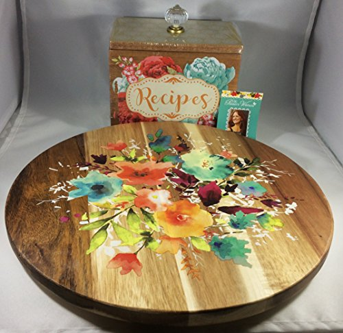 The Pioneer Woman Willow 12-Inch Lazy Susan + Blossom Jubilee Wood Recipe Box Bundle | Perfect Christmas Gift For Her