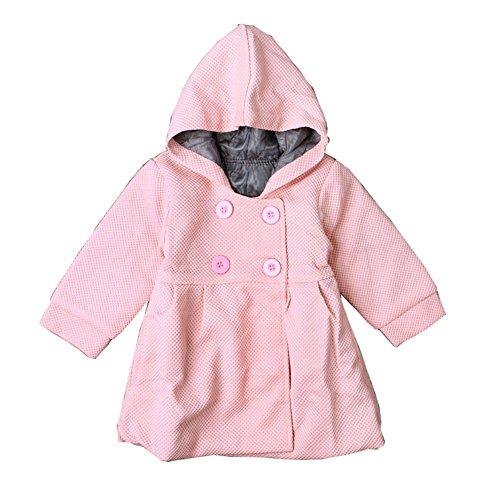 MissChild Baby Mädchen Wintermantel mit Kapuze Winter Herbst Jacken Warm Anorak Mantel Langarm Steppjacke Oberbekleidung Pink 2 Label 90
