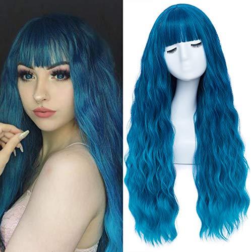 Perücke Blau Damen Lang Locken Perücken mit pony Natürlich Wig für Frauen Alltag Anime Kostümparty Halloween Karneval Perucken 001S