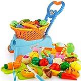 JoyGrow 31 PCS Pretend Juego de Juguetes de Corte con Carrito de Compras Jugar Comida Velcro Juguetes y Juguetes de Cocina para niños y niñas (Azul)