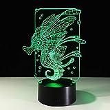 Hipocampo burbuja acrílico dibujos animados caballo de mar USB Navidad romántica 3D LED luz de noche lámpara de mesa decoración de noche regalo para niños