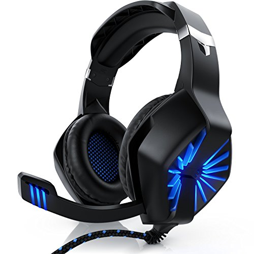 CSL - Gaming Headset für Xbox One Xbox One S Xbox One X PC PS4 PS4 Pro - Klinkenanschluss 3,5mm - Klinke Kopfhörer mit Mikrofon - Headset - Für Gaming Musik Chat - LED-Beleuchtung