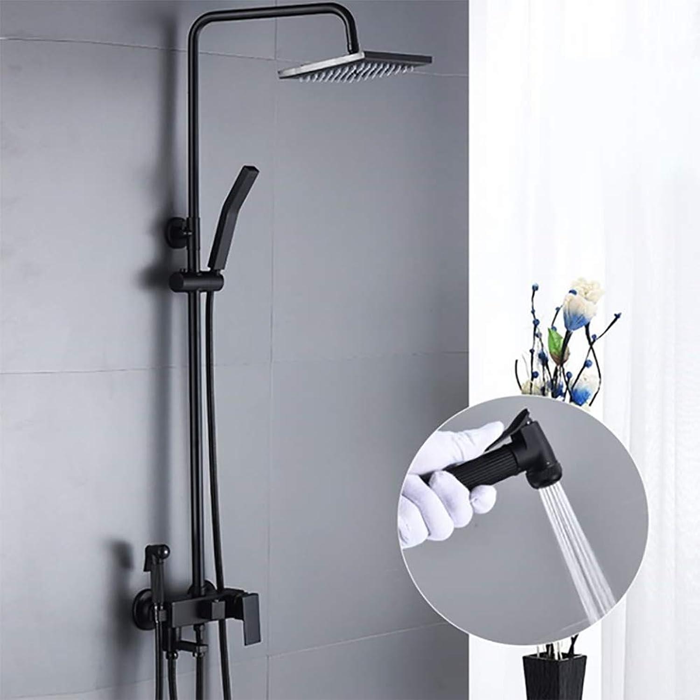 LYWIR Schwarz Startseite Dusche Set Bad Wasserhahn Mischdüse Messing Thermostatmischventil Bad Wasserhahn Duschsystem Duschkopf Set