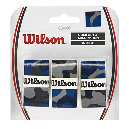 Wilson Juego de sobreempuñaduras Camo, 3 recambios, Diseño de camuflaje, Azul, WRZ470840