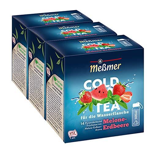 Meßmer Cold Tea Melone-Erdbeere, 14 Pyramidenbeutel, 3er Pack