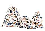 Abaría - 4 unidades bolsa de algodón grande - Bolsa inserto organizador para ropa juguete pañales...