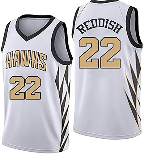 ZMIN Ropa de Baloncesto Reddish # 22 Hawks para Adultos, Camiseta sin Mangas con Chaleco sin Mangas para Fan Jersey,Blanco,XL